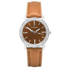 Silver tone watch with tan straps and face