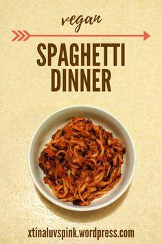 Vegan Spaghetti Dinner with Black Bean Pasta Sauce | xtinaluvspink.wordpress.com
