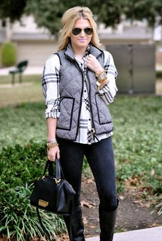 like the plaid shirt and the herringbone tweed puffer vest with the dark jeans.