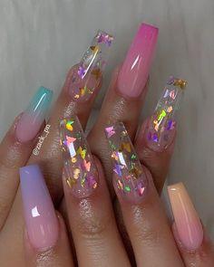 Summer Acrylic Nails, Best Acrylic Nails, Acrylic Nails Glitter, Cute Acrylic Nail Designs, Nail Art Designs, Nails Design, Clear Nail Designs, Bright Nail Designs, Long Nail Designs