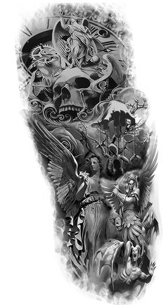 All rights reserved. Art is buyable. Please contact us for details Lion Tattoo Sleeves, Skull Sleeve Tattoos, Half Sleeve Tattoos For Guys, Arm Sleeve Tattoos, Angel Sleeve Tattoo, Wing Tattoos, Chest Tattoo, Full Sleeve Tattoo Design, Half Sleeve Tattoos Designs