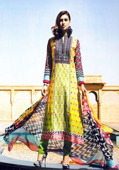 Colourful Combination Of Light Colours With Long Neck And Full Embroidery #pakistani #suits #collection #maria   Buy at : http://www.alicolors.com
