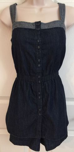 French Connection Womens Size 14 Denim Skort Short Romper Chambray Cute | eBay