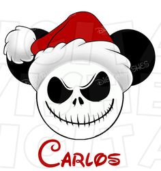 Christmas Jack Skellington Mickey Mouse with Santa hat head Mickey Christmas, Christmas Rock, Halloween Christmas, Disney Mouse, Mickey Mouse Ears, Disney Diy, Jack Skellington Santa, Imagenes Betty Boop, Emoticon Faces