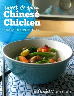 Love Chinese Take Out? This Sweet & Spicy Slow Cooker Chinese Chicken is a tasty and budget-friendly alternative PLUS it's gluten free and freezable so you can double it and enjoy it again next week! --from ThePeacefulMom.com