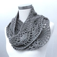 Hand crochet infinity scarf in gray wool