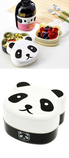 Panda two-tier bento box // fun lunch box! Cute! #product_design