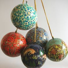 Fair trade, hand-painted holiday ornaments made of paper-mache from India- Four Corners of the World