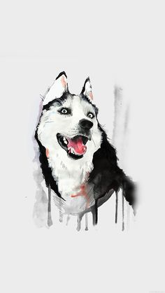 HAPPY DOG WHITE HUSKY ANIMAL ILLUST WATERCOLOR WALLPAPER HD IPHONE