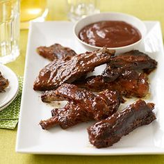 For a great weeknight main dish, get out your slow cooker. The homemade sweet and tangy barbecue sauce makes these pork ribs delicious.