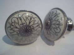 Porseleinen ronde knop met fijn grijs patroon