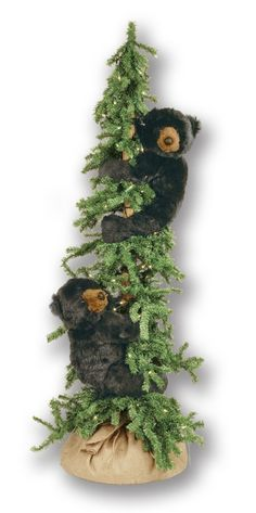 Alpine Frolic Tree Bear, 60 Inches:   Add a special charm to your lodge or cabin decor with these frolicking bears in a lighted pine tree.
