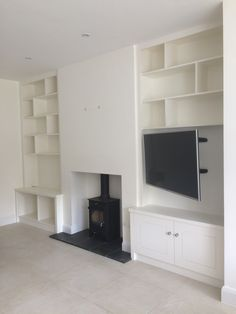 Alcove TV cabinet TV cabinet painted in white<br> Our professional designers can create built-in or free-standing TV media units, custom-made bookcase and bespoke display cabinets Alcove Ideas Living Room, Living Room Wall Units, Narrow Living Room, Living Room Themes, Living Room Lounge, New Living Room, Living Room Interior, Living Room Designs, Cosy Dining Room