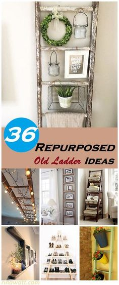 36 Brilliant Repurposed Old Ladder Ideas for Fans of Upcycling - Site Title Old Ladder Decor, Old Wood Ladder, Hanging Ladder, Rustic Ladder, Hanging Plant, Old Ladder Shelf, Diy Ladder, Shabby Chic Homes, Shabby Chic Decor