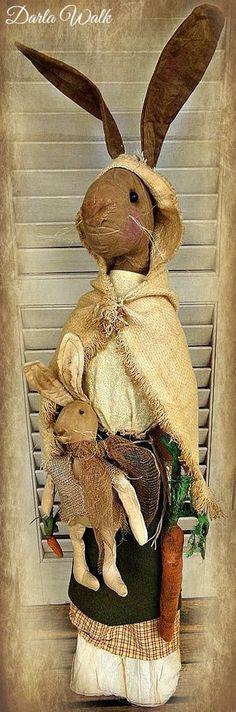 Folk art Primitive Rabbit doll, Henrietta the Hare, Easter Bunny OOAK 41 inches #NaivePrimitive