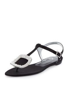 Thong Chips Flat Satin Sandal, Black (Nero)
