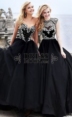 Gorgeous Satin and Tulle Sweetheart Scoop Beadings Sequins Floor-Length Black Prom Dress - PROM