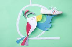 Mise en scène papier / chaussure adidas néo cloudfoam