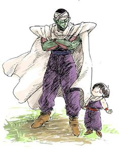 Piccolo and wee!Gohan. #DBZ fanart
