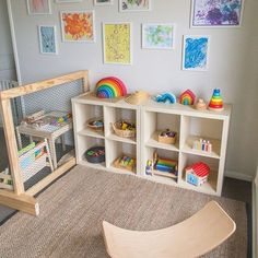 Our Journey to Montessori When your play room is your happy space! 💁🏻 🌟 I am so in love with our play space! Toy rotation is totally my jam and I love nothing more than a bit of a refresh in the space we spend most of our days playing in! Montessori Playroom, Montessori Toddler Bedroom, Waldorf Playroom, Ikea Kids Playroom, Playroom Organization, Waldorf Toys, Playroom Ideas, Home Daycare, Toddler Daycare Rooms