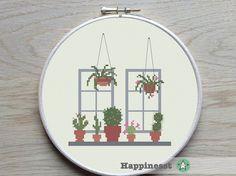 cross stitch pattern cactus, modern cross stitch, cactus, succulent, cacti, window, PDF pattern ** instant download**