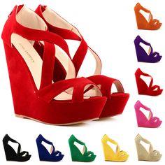 Super High-Heeled Wedge Cross Strap Sandals