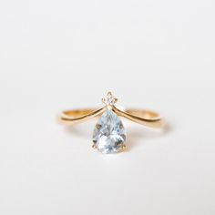 Solid 14K 18k gold platinum V shape aquamarine diamond ring