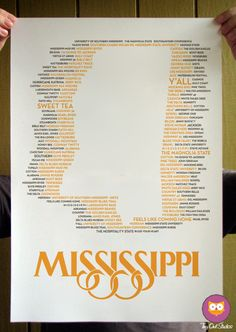 Mississippi State Typographical Poster by tinyowlstudios on Etsy