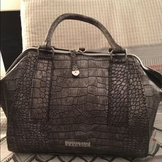 Gunmetal Crocodile Print Satchel Bag Large faux crocodile print satchel bag in versatile gunmetal color. Large interior easily hold a book or iPad along with all of your other essentials. Never been worn, tags still on. Kenneth Cole Reaction Bags Satchels