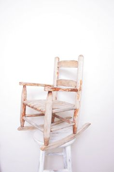 Reduced - Antique Children's Wooden Rocking Chair, Perfect For A Playroom Or…