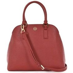 Tory Burch Robinson Open Dome Satchel Saffiano Leather - Kir Royale Red
