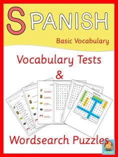 This set has more than 200 pages of vocabulary tests and wordsearch puzzles. Use these worksheets to introduce and practice Spanish vocabulary and spelling. The multiple choice vocabulary tests make it easy for young learners. Learning Spanish vocabulary is really easy with this huge set of great worksheets.