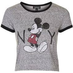TopShop Mickey Mouse New York Tee (97 BRL) ❤ liked on Polyvore featuring tops, t-shirts, shirts, crop tops, grey marl, vintage crop top, vintage tees, grey t shirt, crop top and t shirts