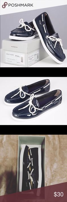 Cole Haan Nantucket Navy Patent Brand New! Never worn NWT, Nantucket Camp Moc Navy Patent shoes by Cole Haan. Retail, $75.00. Cole Haan Shoes Moccasins