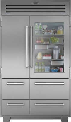 "Sub-Zero 648PROG 48"" Built-in Side by Side Refrigerator with 3 Adjustable Spill-Proof Glass Shelves, Dual Refrigeration System, Refrigerator/Freezer Drawers, Ice Maker, Auto-Close Hinge System, Glass Door and Star-K Certified"
