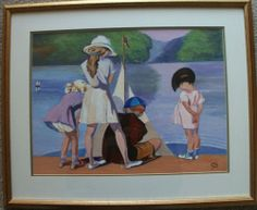 """Lovely unsigned framed and glazed original oil painting.   Titled """"The Launch"""", subject is a group of children launching a toy boat in a pond.   Size is 30cm x 40cm."""