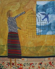 Donald Saaf    Freeing the Caged Bird     2011     Acrylic, Fabric on Panel     24x32