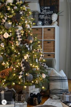 Black and White Plaid Check Christmas Tree #michaelsmakers