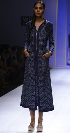 Hand tied bandhani silk dress by RAHUL MISHRA. http://www.perniaspopupshop.com/wills-fashion-week/rahul-mishra #fashionweek #willslifestyleindiafashionweek