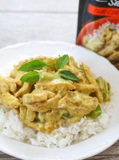 Mmm! We could eat Thai Curry Chicken every day. It's so yummy and the recipe is unbelievably simple due to Campbell's Thai Curry Skillet Sauce.  It literally only takes 15 minutes to cook. Make it for dinner tonight! Recipe and photos by blogger at KirbieCravings.com.