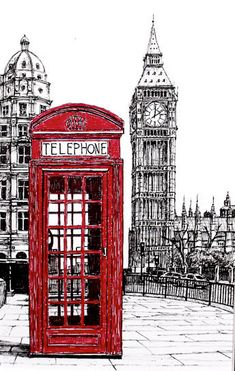 Red London phone booth Big ben Original Ink by TheOriginalDrawings Vintage Diy, Vintage Images, London Phone Booth, Foto Transfer, London Art, Urban Sketching, London Calling, Belle Photo, Travel Posters
