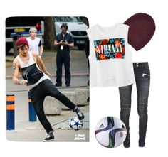 """""""Louis girl"""" by eplay1962 ❤ liked on Polyvore featuring Balmain, Maje, adidas, women's clothing, women's fashion, women, female, woman, misses and juniors"""