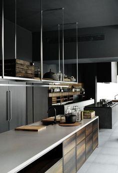Elegant kitchen design with pendant shelves