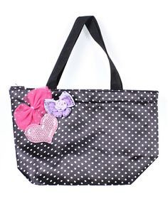adorable embellished bag - fun way to practice simple applique. Look at this #zulilyfind! Black Polka Dot Tokyo Tote by Kid Creations #zulilyfinds