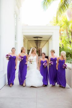 Elegant California Wedding from The Youngrens - purple bridesmaid dress