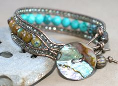 Reserved for Sheree Turquoise Gemstone Leather Wrap Cuff by MindyG