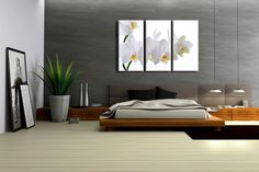 Tryptique de rectangles - Orchidée Blanche