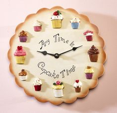 New Anytime Cupcake Time Kitchen Wall Clock Decor w 3 Dimensional Cupcakes Cupcake Kitchen Decor, Kitchen Themes, Best Wall Clocks, Kitchen Wall Clocks, Diy Clock, Clock Decor, Clock Ideas, Bedroom Clocks, Cupcake Shops