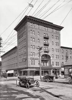 "Burlington, Vermont, circa 1913. ""New Sherwood Hotel, Church and Cherry Sts."" Destroyed by fire in 1940.  Shorpy Historic Picture Archive"