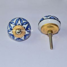 Blue Floral Ceramic Cabinet Knobs, Set of 2 on RoyalFurnish.com, $3.96